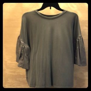 Charcoal blue puffy sleeve shirt